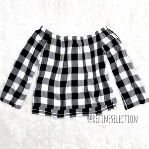 Cloth & Stone Black Checkered Off Shoulder Top